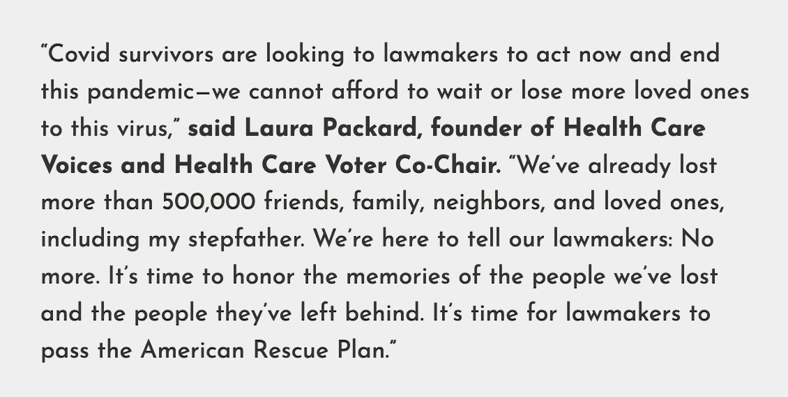 Covid survivors are looking to lawmakers to act now and end this pandemic - we cannot afford to wait or lose more loved ones to this virus. #OurSurvivalAtStake #AmericanRescuePlan