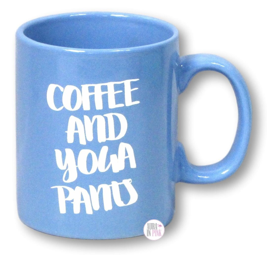 This fabulous Periwinkle Blue Coffee And Yoga Pants Coffee Mug tells everyone how much you value your coffee in comfort! A gorgeous periwinkle blue mug with duplicated white text on both sides.    #aurainpink #coffee #yoga #yogapants #coffeemug #namaste