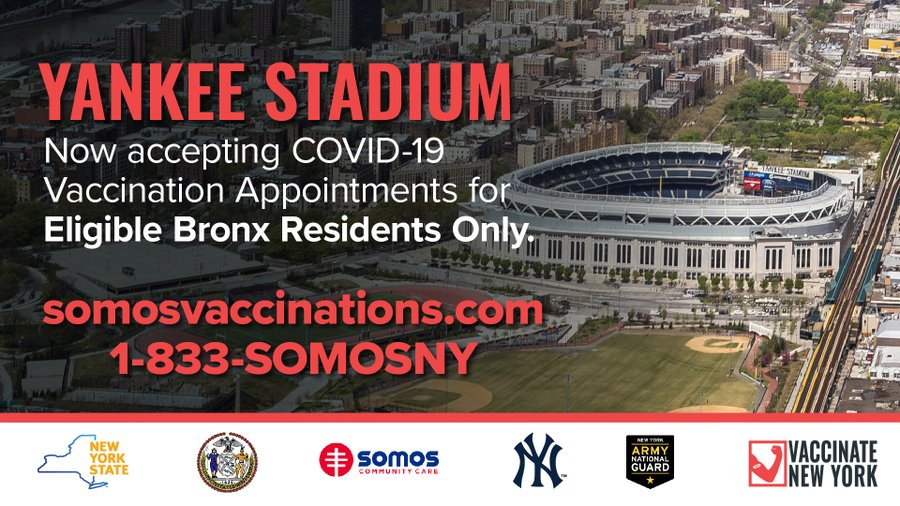 Eligible Bronx residents can now schedule appointments for the Johnson & Johnson vaccine at Yankee Stadium.   Vaccinations take place from 8 p.m. - 7 a.m.  If you're eligible, schedule now:   #VaccinateNY