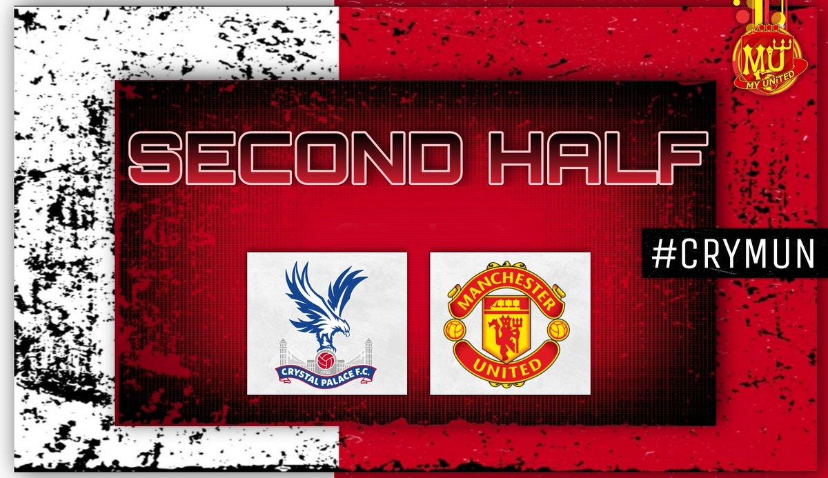 46'| Second half is underway   🦅🆚️🔴 #CRYMUN #PL #MUFC