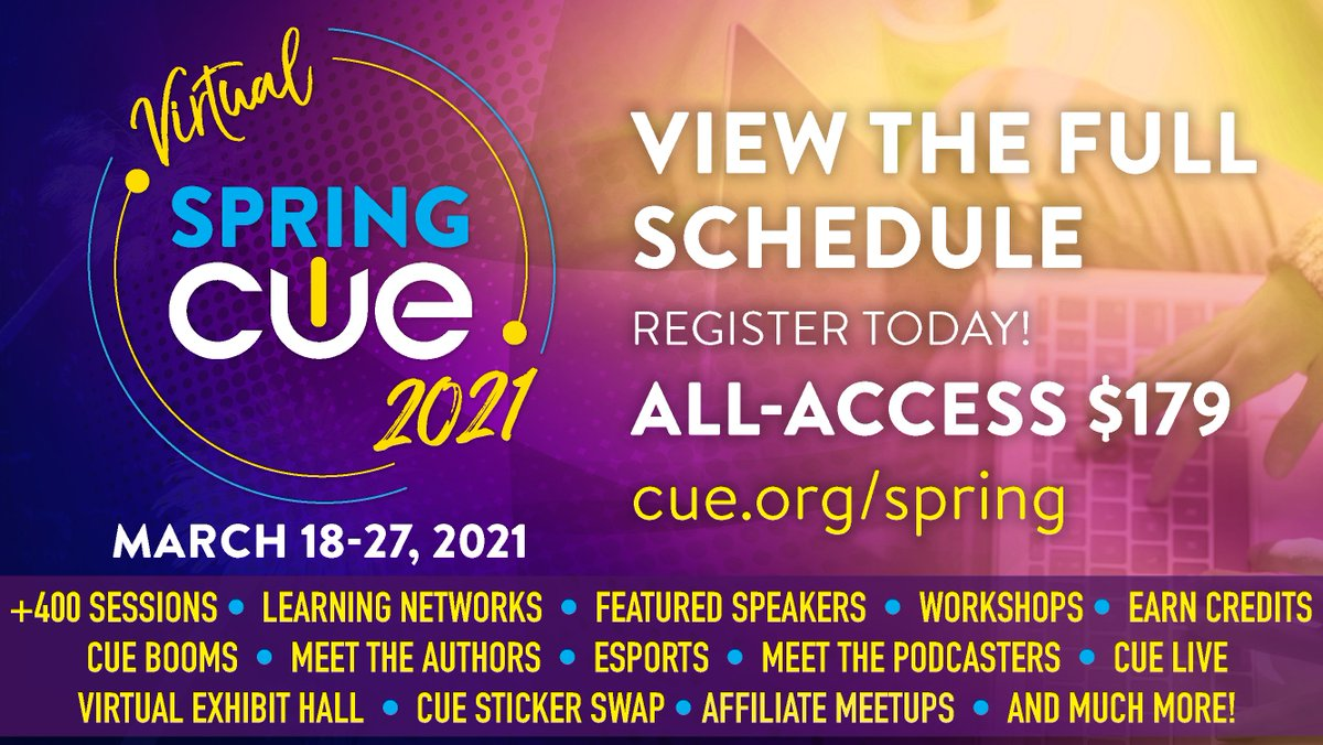 Virtual #SpringCUE is NEXT MONTH! Join us for more than 400 sessions spread over ten days - Register today! 👉https://t.co/p7z8jBW3l1👈#WeAreCUE #edchat #caedchat #NVedchat #edtech #CUEChat #K12 #CALSA #edutwitter #edutech #education #BetterTogether #globaled #edu #ACSA https://t.co/R1BeOCy40H