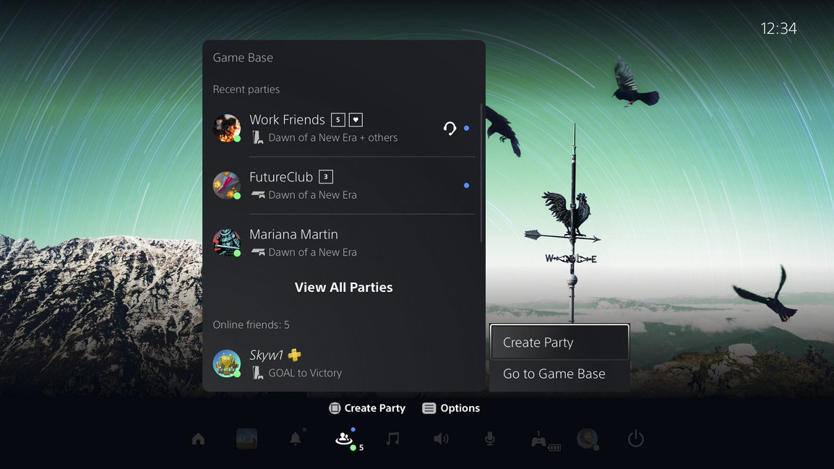 Find out how to create and join a party, voice chat and share content with party members in Game Base on PS5 consoles: