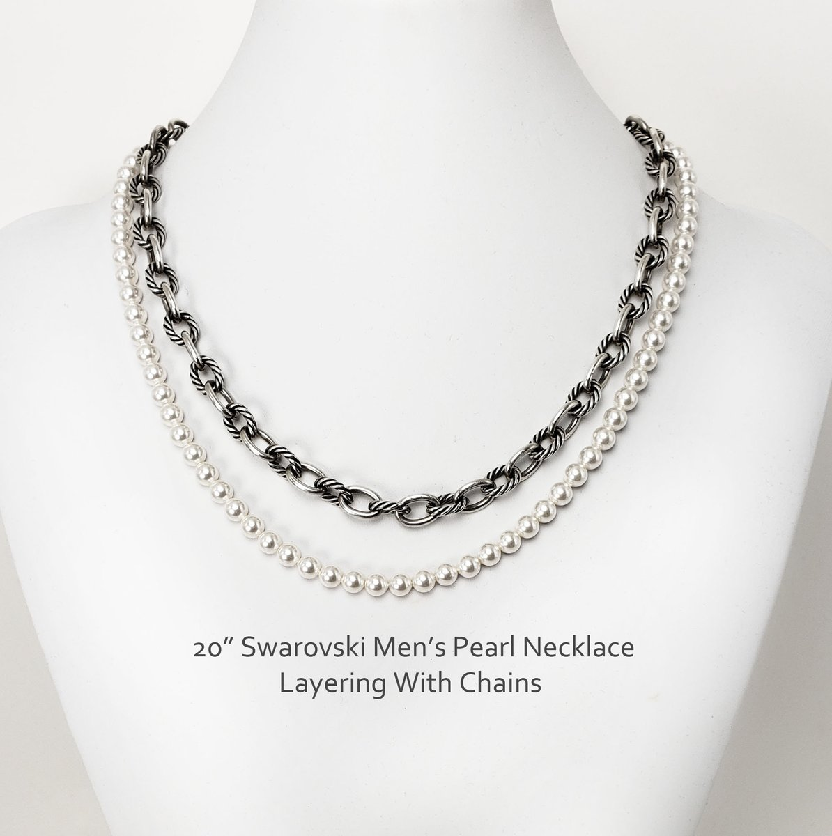 Men's Pearl Necklace 20 Inch Harry Styles Inspired Swarovski Pearl Necklace 6mm Pearls For Layering With Chains  #shopsmall #giftsforher #handmade #Etsy #christmasgifts #style #jewelryblogger #fashion #handmadejewelry