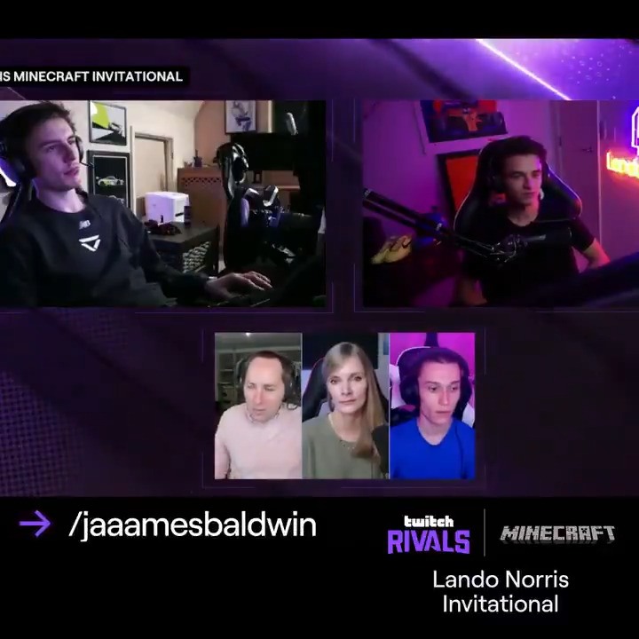The final battle for the 🏆 & the banter's getting 🔥  🏎️ Team @LandoNorris vs ⛏️ Team @JaaamesBaldwin  Find out who'll be the Twitch Rivals: Lando Norris Minecraft Invitational Champion.  Watch now: