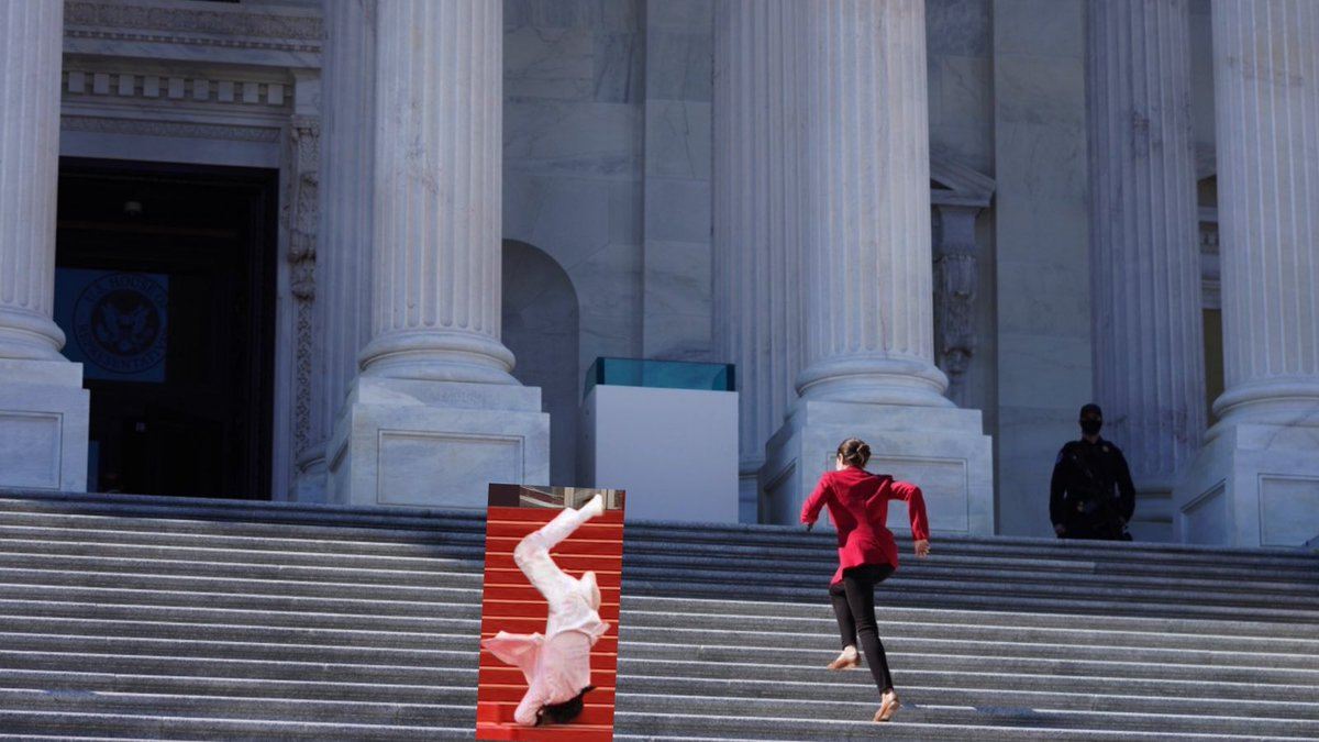 .@AOC skips stairs as she sprints past @jasonderulo falling down the east front stairs of the House at the #USCapitol.  Graphic design is my passion. https://t.co/m3IDOdbbBn https://t.co/iTsCtZynRs