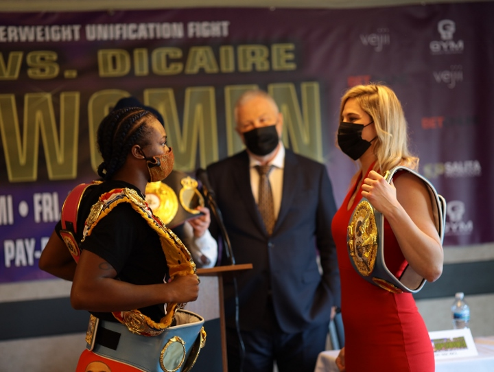Replying to @boxingscene: Photos: Claressa Shields, Marie-Eve Dicaire - Face-Off at Final Presser