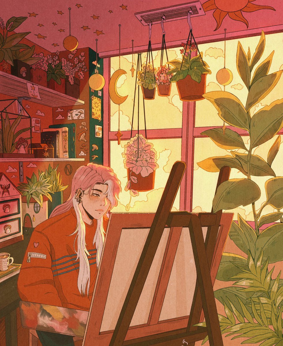 Hi #VisibleNonbinary I'm Orlane and I like to draw illustrations with warm colors and a lot of details 🌹🍄