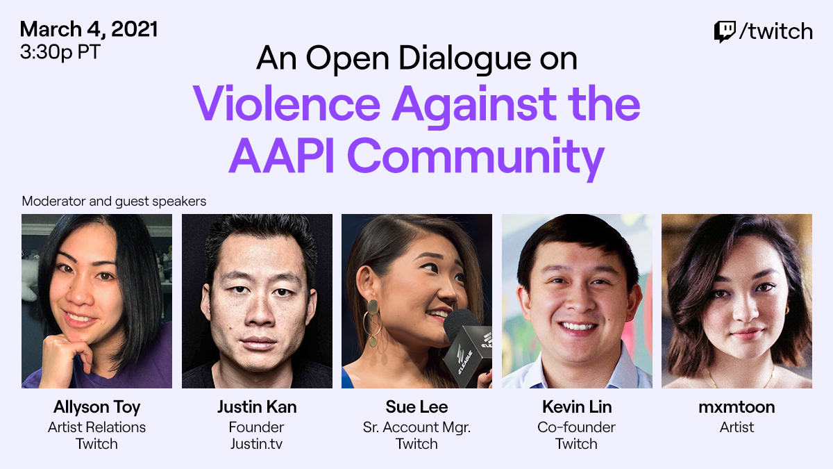 honored and excited to be a speaker on @twitch's AAPI anti-violence panel tomorrow. lucky to be a part of this and be alongside some incredible voices. i hope i can help bring increased awareness to the issues the AAPI community has been facing throughout history and as of late