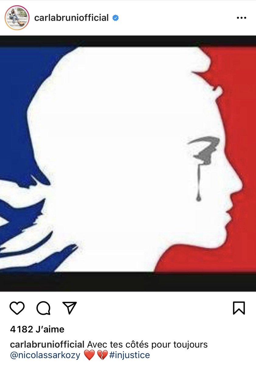Carla Bruni reprend un visuel... du 13 novembre 2015 pour afficher son soutien à son mari condamné en première instance pour corruption... #Sarkozy #Justice