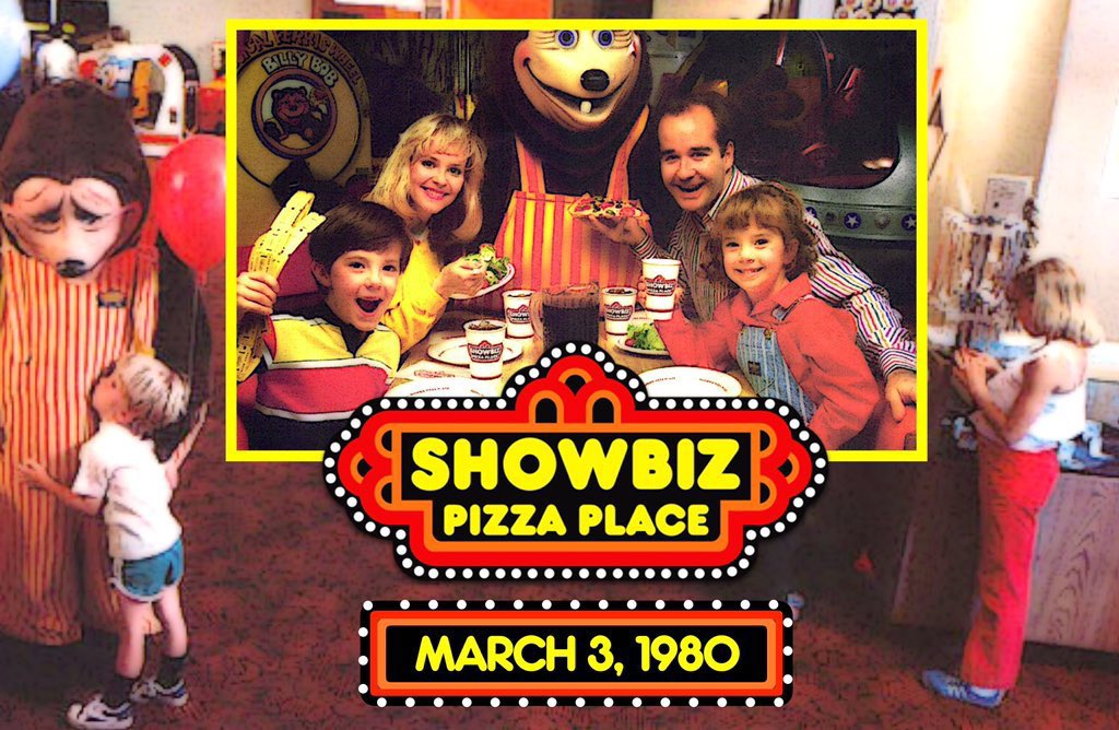 🍕On March 3, 1980, the first ShowBiz Pizza Place opened in Kansas City, Missouri