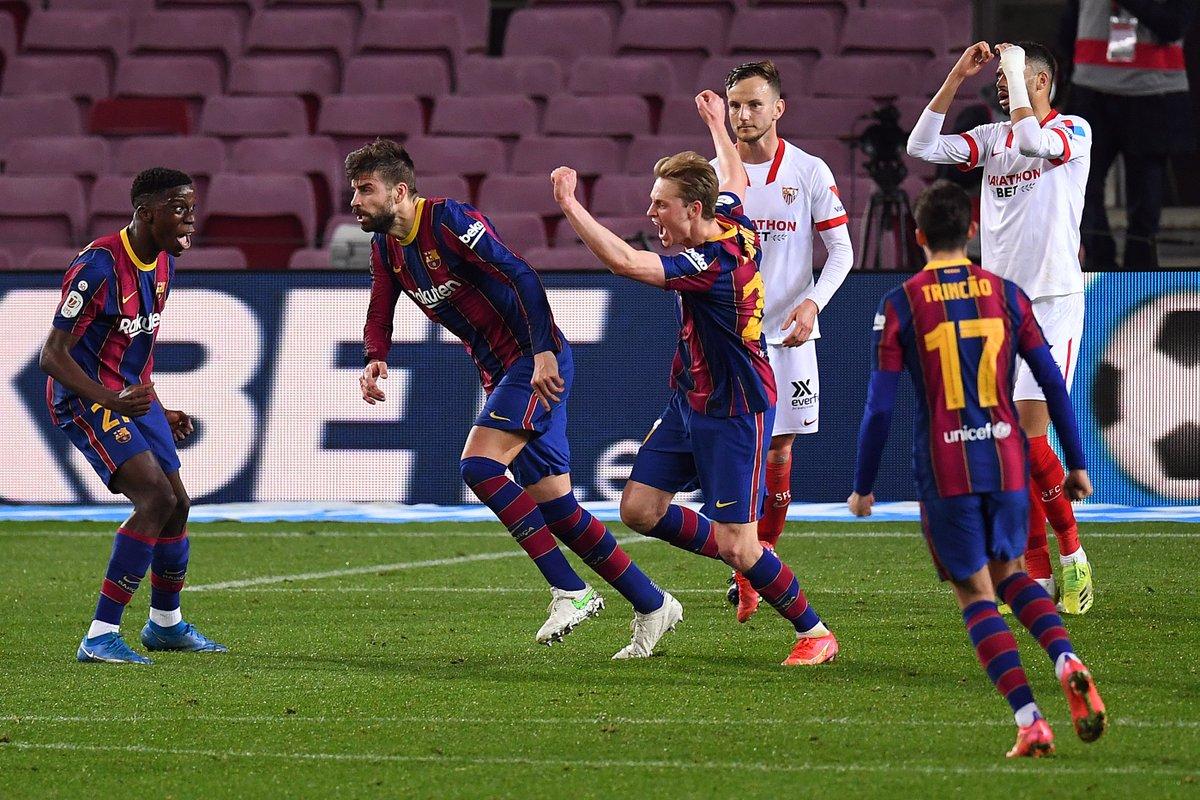 90+4': Barca 2-2 Sevilla (agg) 95': Barca 3-2 Sevilla (agg)  Turnaround 😳 https://t.co/9siB6js8Eq