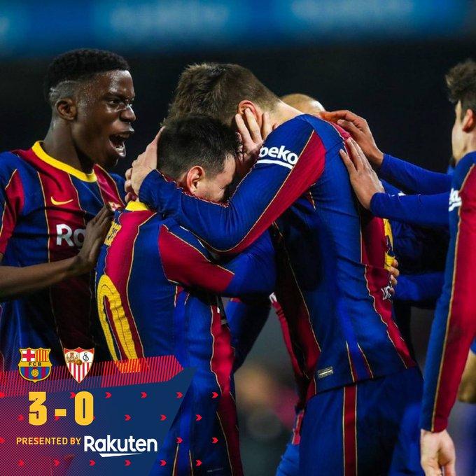 Hasil akhir Barcelona 3-0 Sevilla di semifinal copa del rey leg 2, Rabu (3/3/2021) malam atau Kamis dinihari WIB