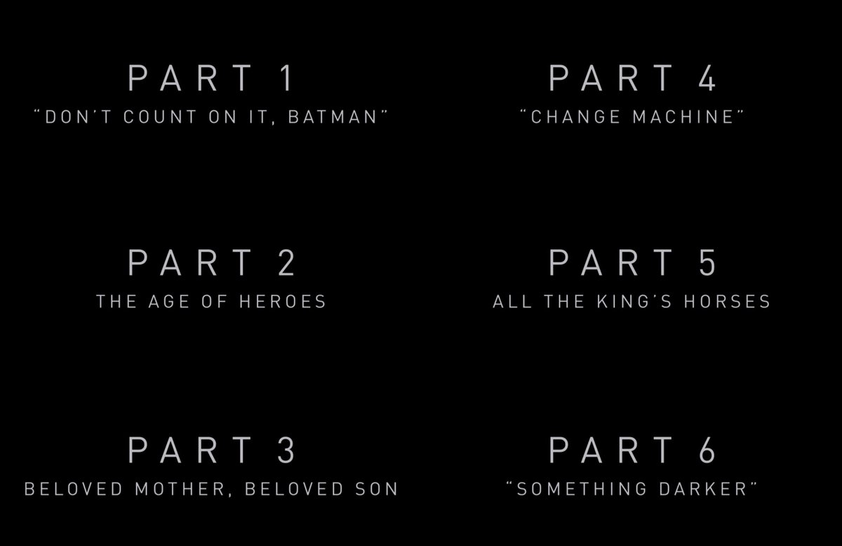 Official Chapter titles for Zack Snyder's Justice League 6 Chapters into One Film #ThankYouZackSnyder 🖤😱