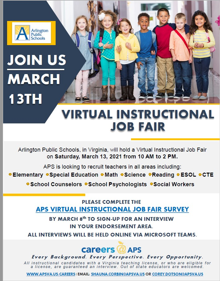 Sign up now for the Arlington Public Schools Virtual Instructional Job Fair on Saturday, March 13th!  Elementary, Special Education and Secondary Teachers  encouraged to apply! <a target='_blank' href='http://twitter.com/APSVirginia'>@APSVirginia</a> <a target='_blank' href='https://t.co/OYTtaiXc06'>https://t.co/OYTtaiXc06</a>