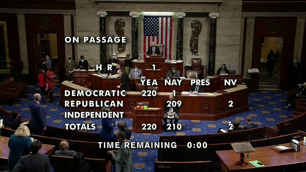 BREAKING: The House passed HR1. The bill:  -Enacts automatic voter registration  -Ends partisan and racial gerrymandering  -Institutes public financing of elections  -Expands early voting  -Prevents voter purges  -Exposes dark money  -Counters Citizens United  This is a big deal.