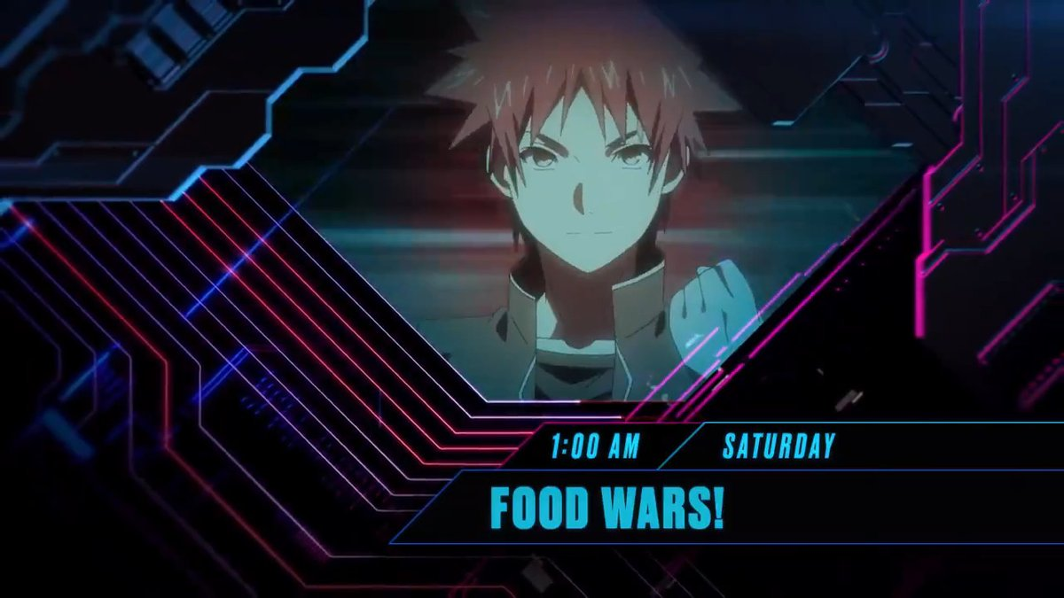 This Saturday at 1:00am, on an all new spicy episode of #FoodWars, on #Toonami 🔥