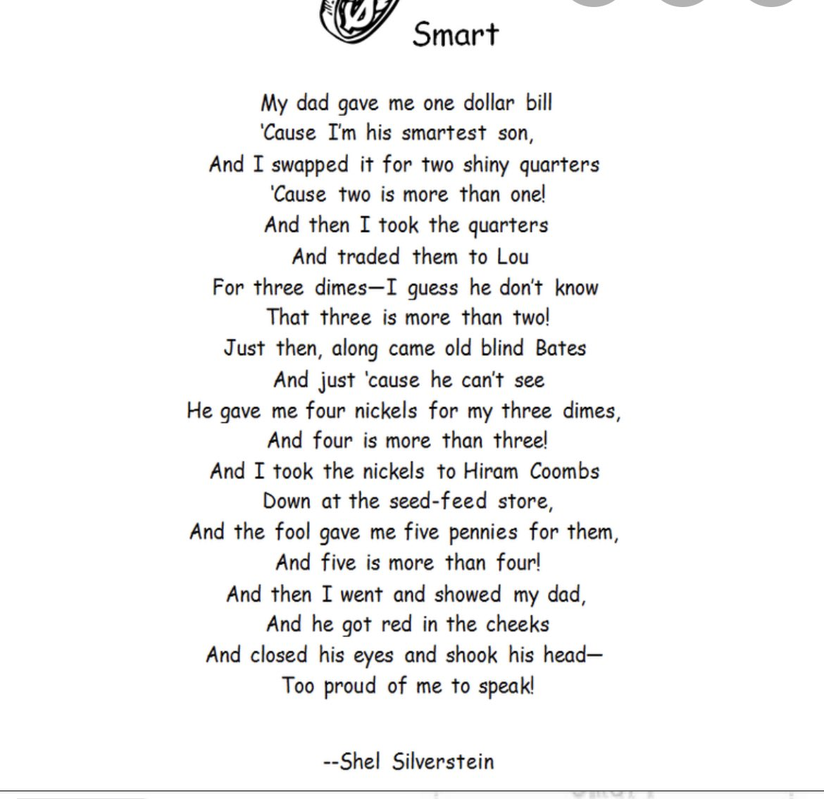 For rhyming week we read Shel Silverstein's poem Smart & reviewed trading + currency for economics. Celebrating @ShelSilverstein #poetry #rhyme  #math #literacy @RichfieldElem https://t.co/vsc6M5Tvq9 https://t.co/LWPy7QnW5c
