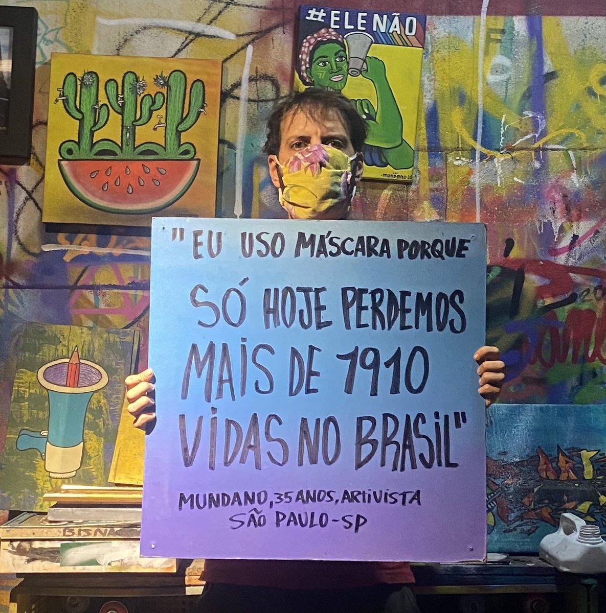 #euusomascaraporque só hoje perdemos mais de 1910 vidas no Brasil .   E você porque usa máscara ? https://t.co/oBJvtVHhXO