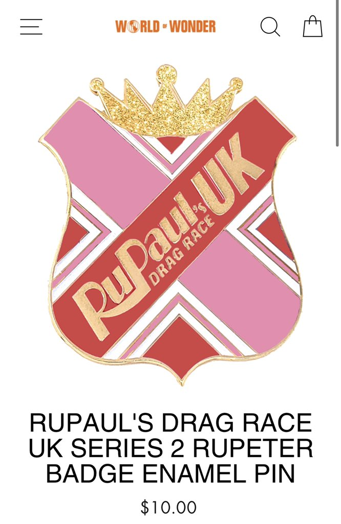 The disparity between the quality of prizes between #DragRace and #DragRaceUK is funny, but I love that you can just go on the WOW website and buy a Rupeter badge for $10.