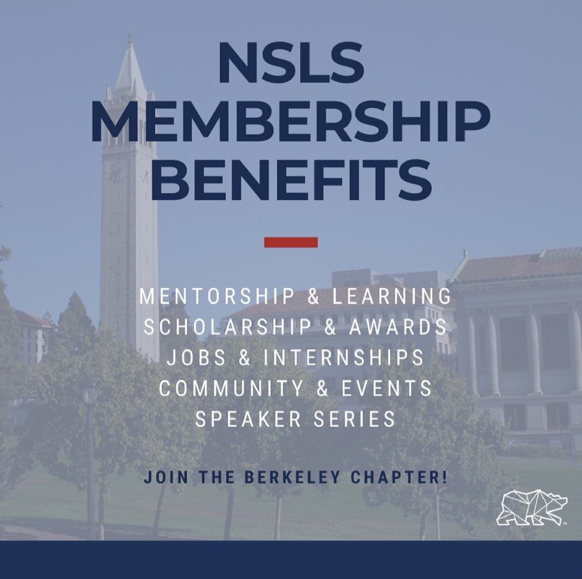 Who doesn't need these benefits? The NSLS offers this to members and so much more! #theNSLS #UCBerkeley #GoBears #Leadership #Success