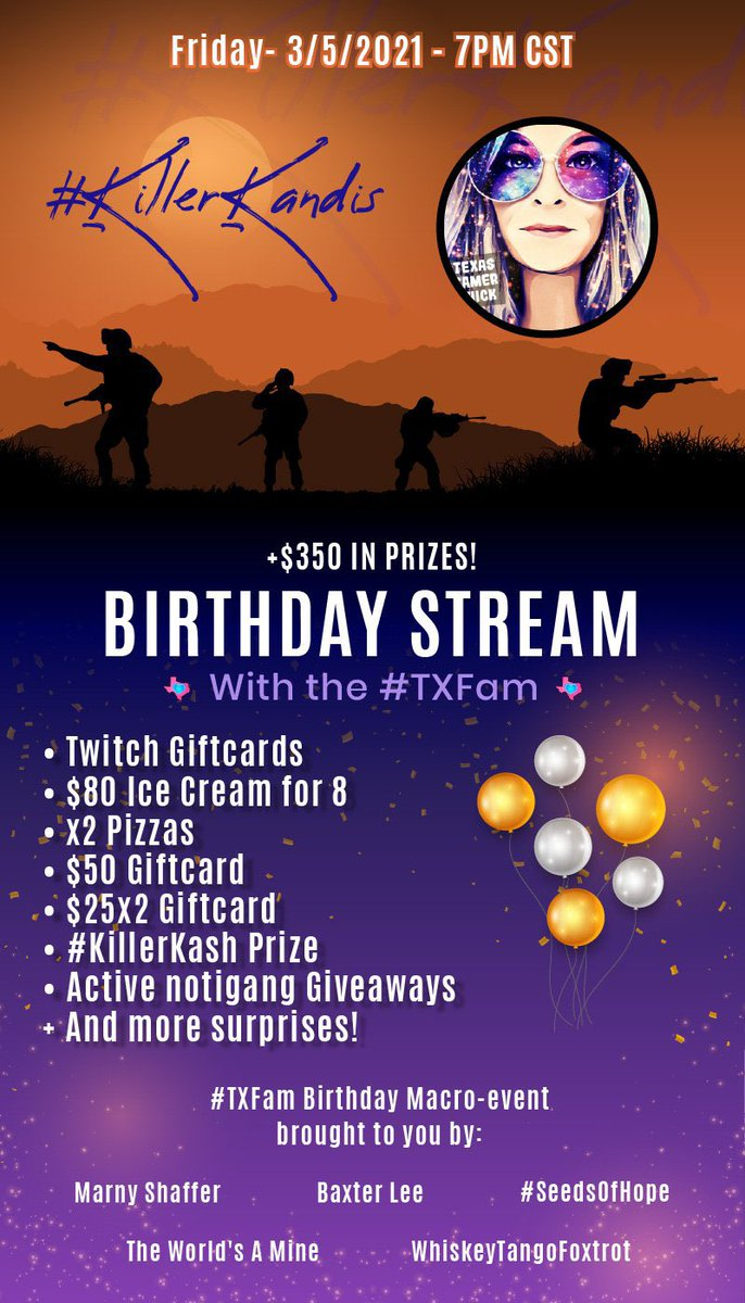 Replying to @TxGamerChick: BIRTHDAY STREAM🥳🥳  Friday Night! 7pm CST!  Will you be there?  Drop a GIF of you're coming!