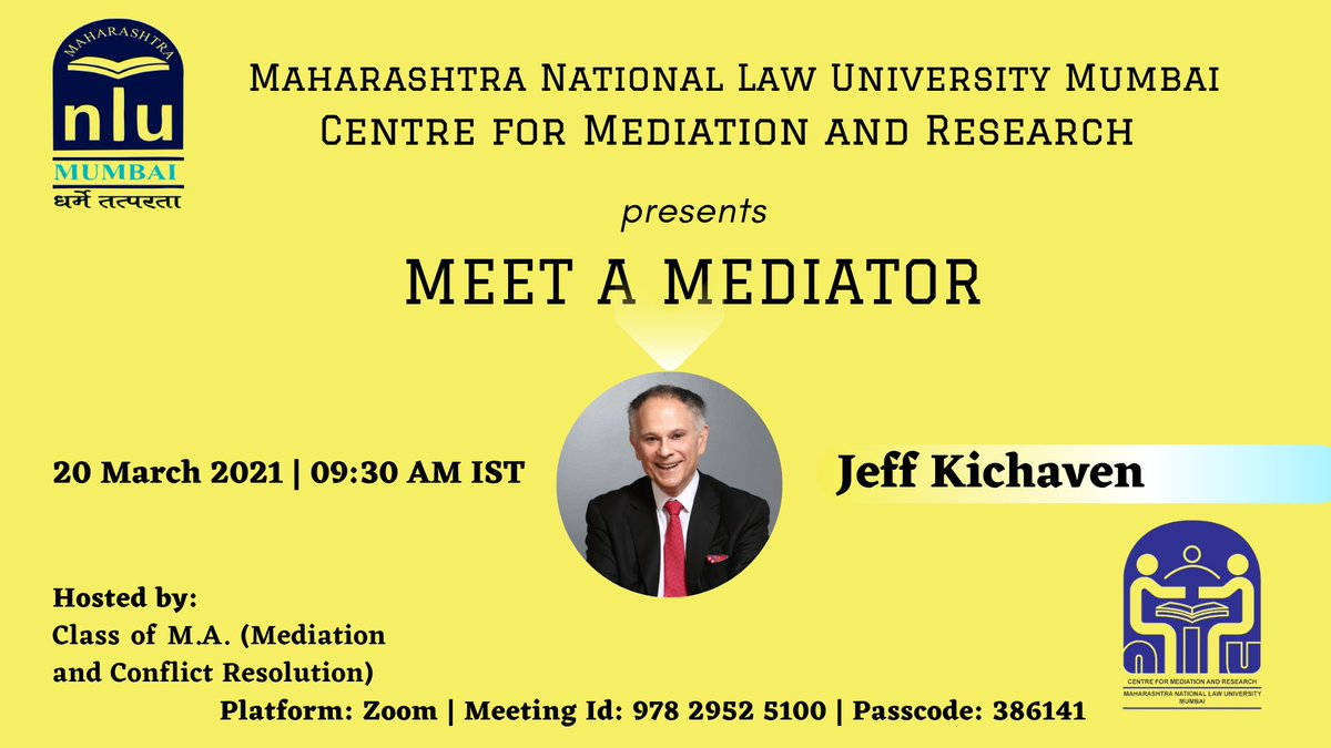 Maharashtra National Law University of Mumbai's Centre for Mediation and Research presents the 'Meet a Mediator' Series starting March 2021.Registration Form: https://t.co/VoWXfFnMEd https://t.co/BO7i2aRFaC