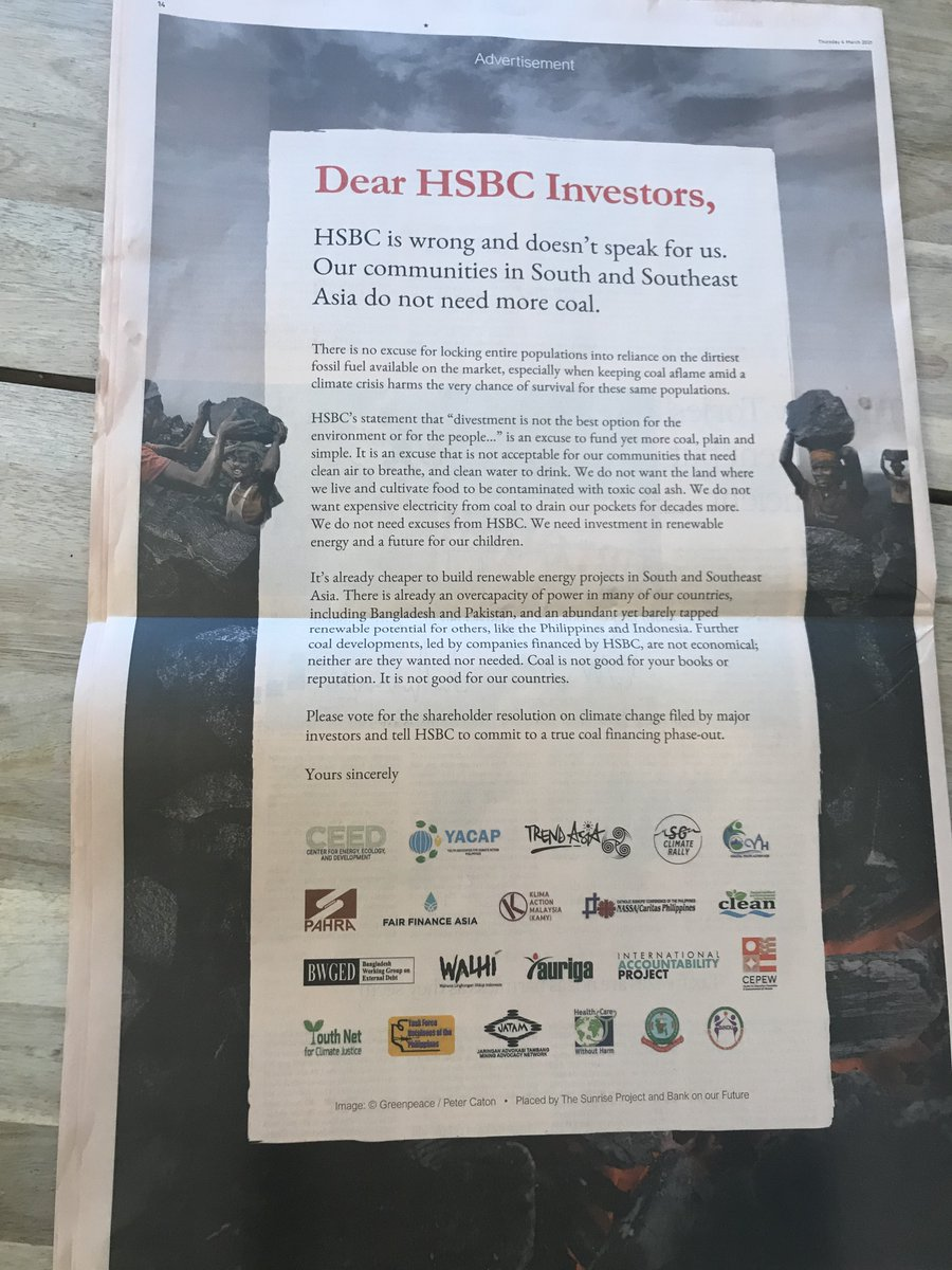 Hey @HSBC you might have seen the ads in the FT. In case you didn't...  Stop telling Asian communities they need coal just as an excuse to profit off their destruction.  They are telling to you to stop financing coal. Listen to them. Now. #CleanUpHSBC