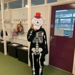 Can you guess which Year 5 teacher is hiding under this mask this morning? The answer will be revealed later on today