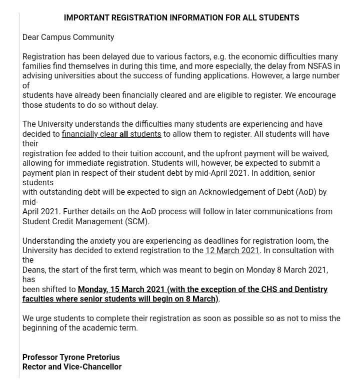 The University of Western Cape (UWC) has just financially cleared ALL students to register for the 2021.   This means no student will be blocked from registering due to any outstanding fees   As we wait for other universities... 👀