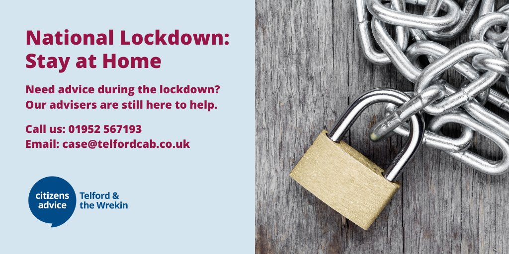 Need advice during lockdown? Were here for you.            Whatever your issue, contact us for free, confidential advice and information.  Phone or email us. For food parcels call us on 01952 567174.  #HereForYou #COVID19 #Coronavirus #NationalLockdown #Telford