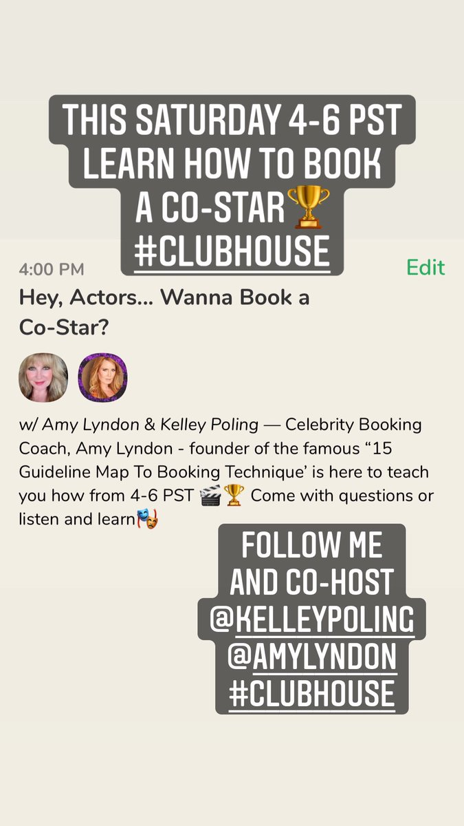 #clubhouseinvite #acting #costar #Booking #audition #SaturdayMotivation #actor #thelyndontechnique