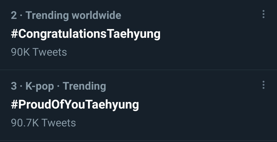 [WW TRENDS]  #CongratulationsTaehyung & #ProudOfYouTaehyung are trending worldwide at #2 and #3  with more than 90k tweets each  #GraduationTaehyung