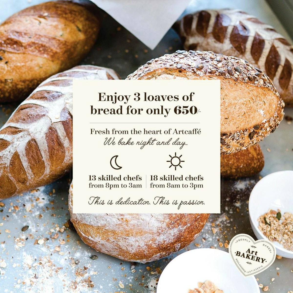 Bread made with love. Enjoy 3 loaves for only 650/- from @artcaffekenya.  #WestgateExperience https://t.co/Afo1dbGfAx