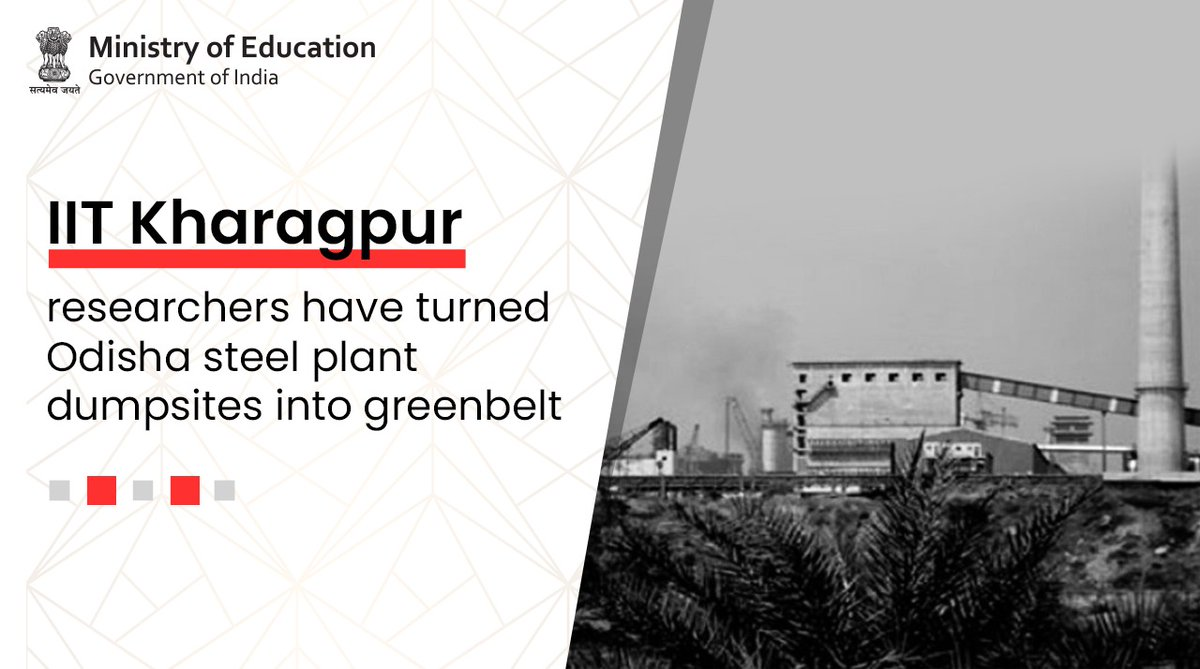 .@IITKgp #researchers have transformed Odisha's steel plants' dumpsites into greenbelts using traditional Indian organic components & Japanese afforestation techniques. The researchers afforested over 32,000 square feet in the Dhenkanal region.