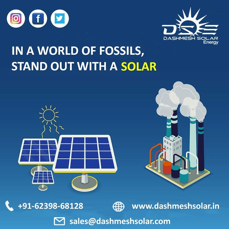 In a world of fossils, Stand out with a SOLAR. . . . . . . . #DashmeshSolarEnergy #solarelectricity #solarpower #cleanenergy #cleanindia #greenearth #greenpower #india #solar