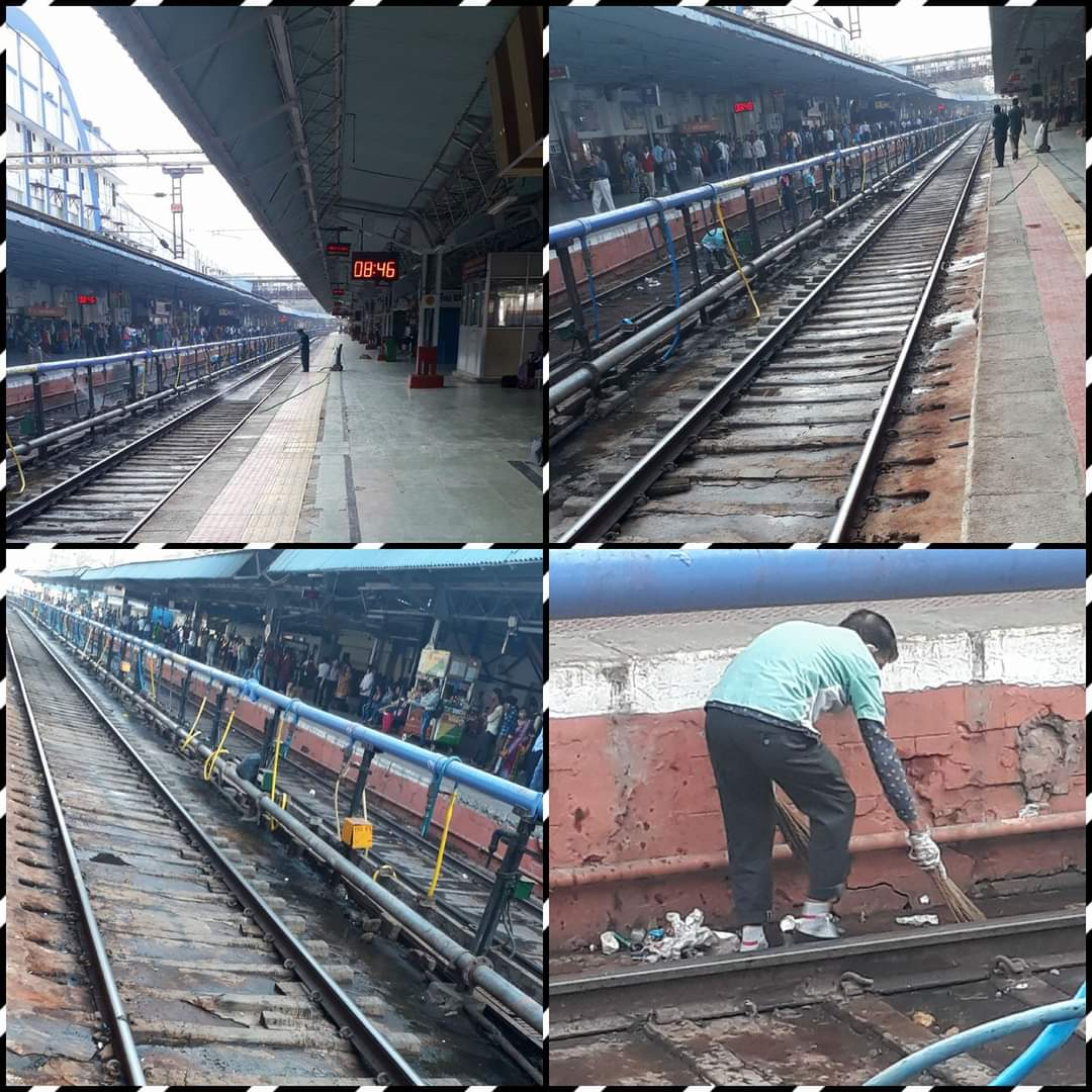 #Vadodara Railway Station, Very clean Platforms & railway tracks, no rats, no dirt smell, all cleaning crew were doing their job with proper PPE's. Never seen till age #CleanIndia #SwatchBharat #मेरा_देश_बदल_रहा_हे @RailMinIndia @WesternRly @PiyushGoyalOffc @PiyushGoyal
