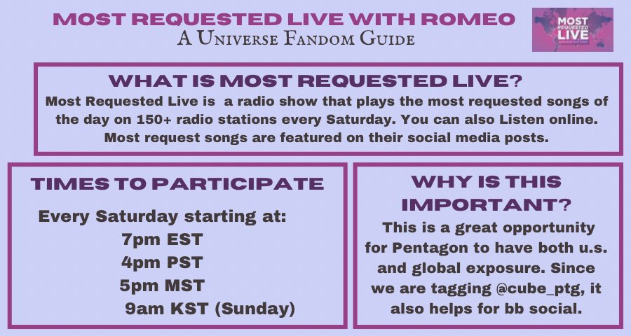 [RADIO REQUEST 📻 ]  Universe, we would like to have #DO_or_NOT played on the radio once it releases.   See details below on how you can help!  #Pentagon #펜타곤  @CUBE_PTG #DO_or_NOT