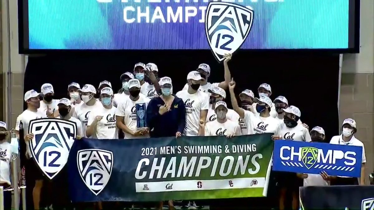 Golden Bears go for the four-peat! 🏆🐻  @calmenswim swept all five relays and took home the men's #Pac12Swim title.