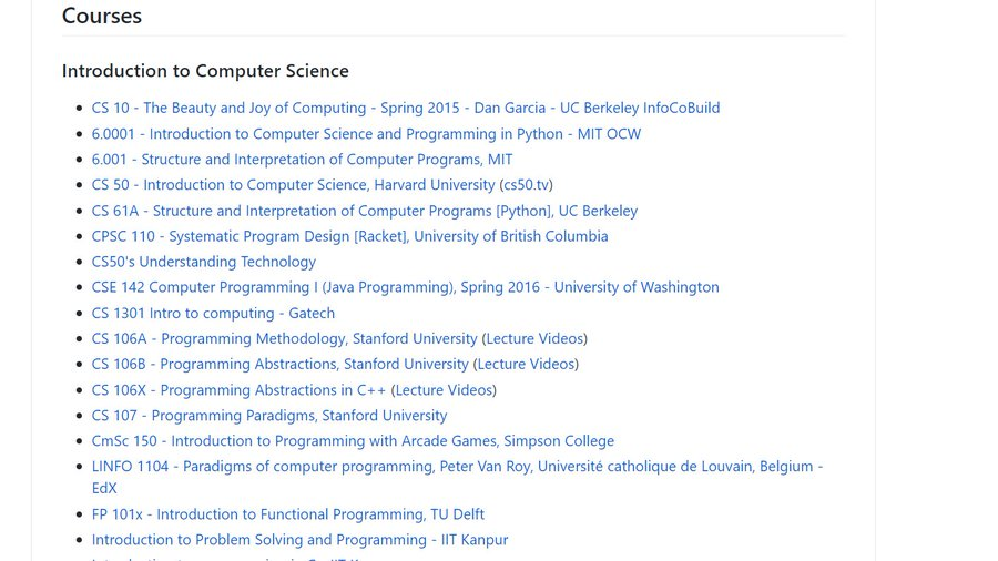 I came across this amazing Github repository with 800+ video courses for computer science, machine learning, and everything in between!  Totally free!