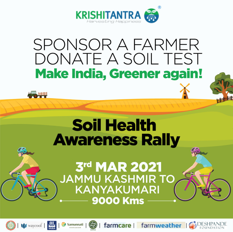 Sponsor a farmer and encourage them to opt for the best fertilizers for higher quality produce.  Donate a soil test @Rs 149/- To know more, visit  #CycleRally #greenindia #soiltesting  #awareness #farmers #FarmersFirst
