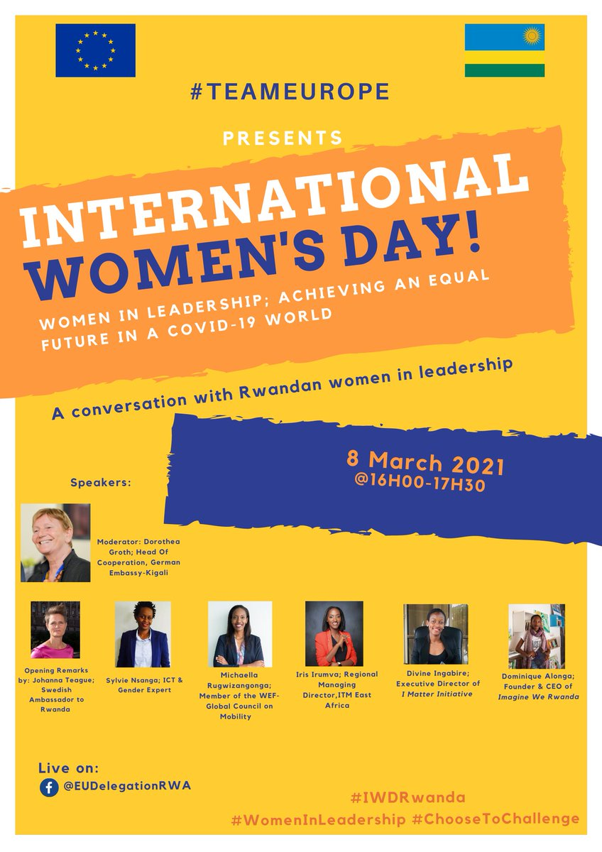 📣Mark your calendars! To celebrate International Women's Day on the 8th of March, we are hosting an online panel discussion with 🇷🇼Rwandan women in leadership! Find out more below and stay tuned 👇 #IWDRwanda #womeninleadership #ChooseToChallenge  #TeamEurope https://t.co/fqXzLi120y