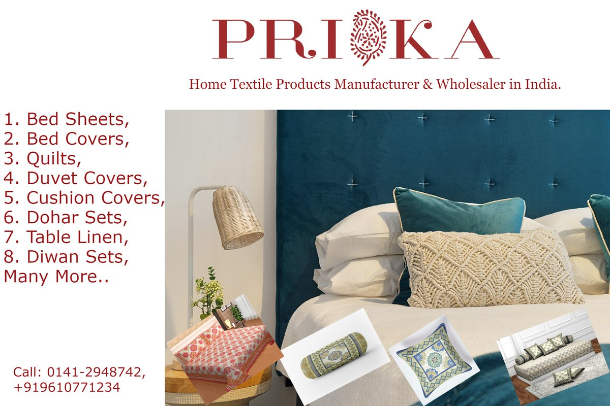 """PRIKA's Collection of Home Textile Products always remains an epitome for ease and luxury. Follow us to get Updates:  #homefurnishings #bedsheet #cushion #duvetcover #tablelinen #dohar #jaipurtextiles #traditional #cool #print #giftsforlovedones #solutions #wholesale #supplier"