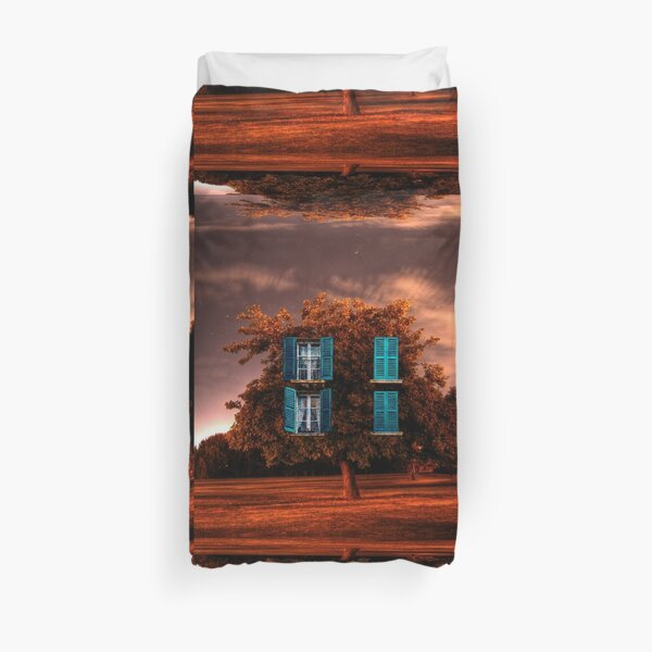'Windowed Tree' Duvet Cover  An old HDR photo taken in Leederville has been given new life #surrealism #nature #magritte #surreal #weird #renemagritte #man #dali #cool #colorful #green #apple #summer