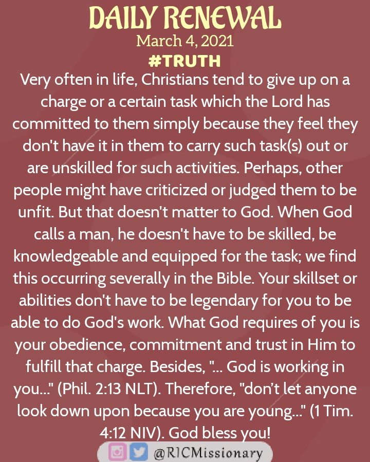 Don't give up on the work of the Lord!  Daily Renewal  March 4, 2021  #Truth #Work #Faithfulness #Trust #Renewal