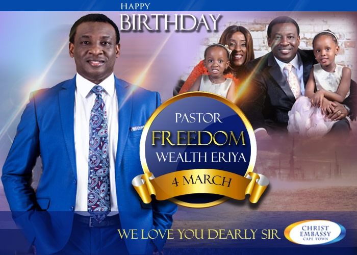 CELEBRATING GOD'S BEST  Christ Embassy Southern Africa Zone 4 would like to honour PASTOR FREEDOM WEALTH ERIYA on this special day.  Happy Birthday Sir.  #cesazone4 #cesouthernafrica #cesazone1 #HappyBirthday