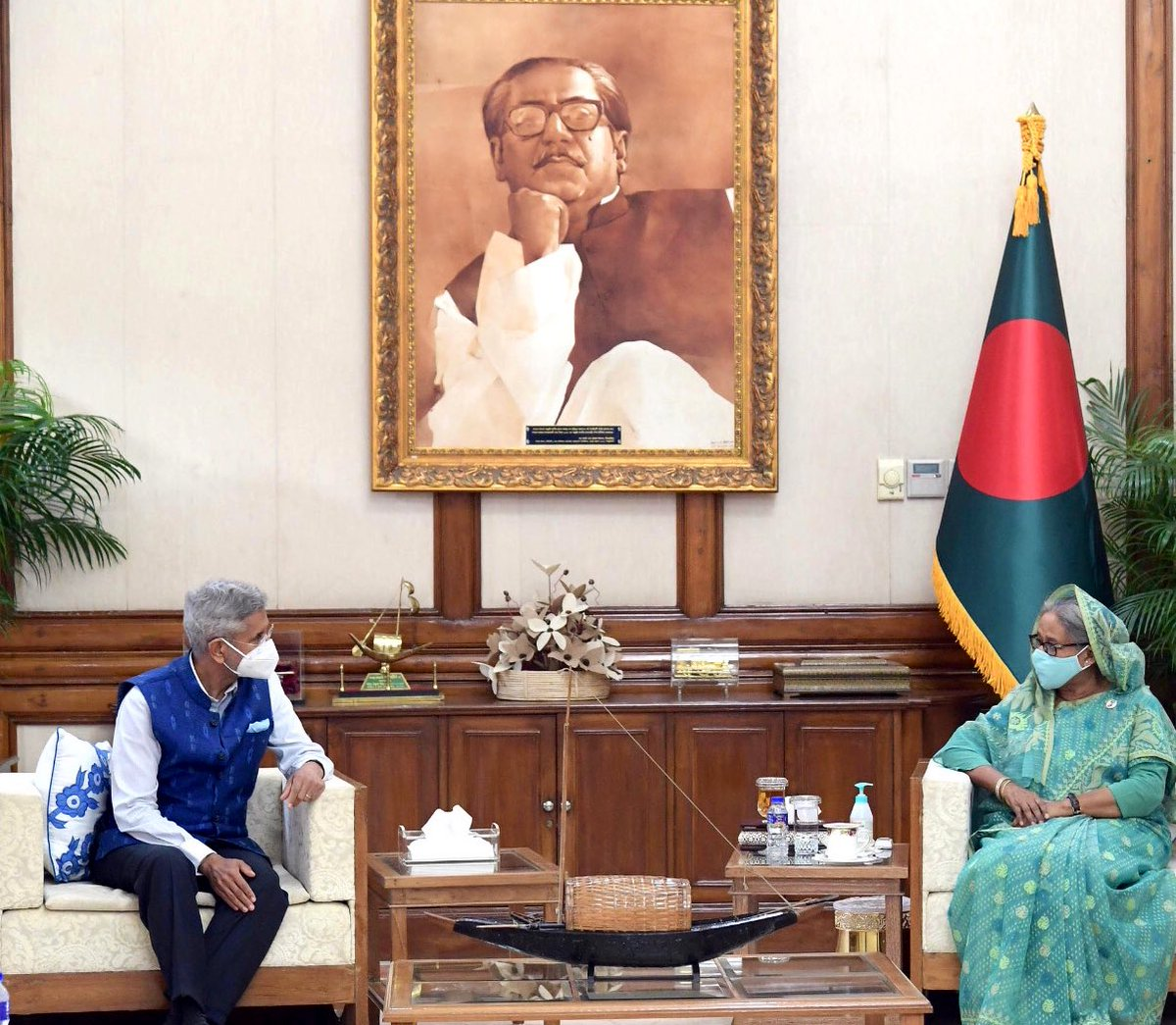 Thank PM Sheikh Hasina for receiving me today. Conveyed warm greetings of PM @narendramodi. Her sagacity and leadership continues to inspire our relationship.