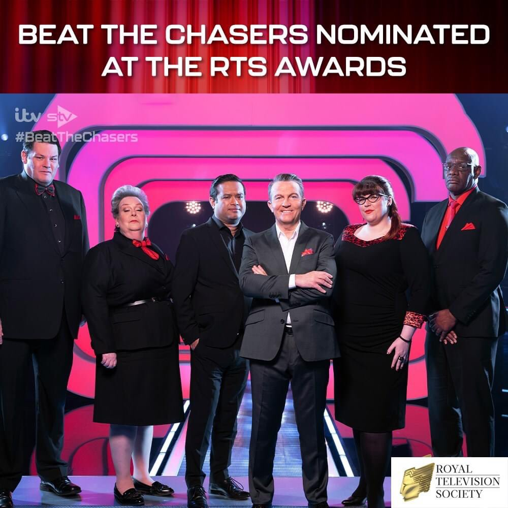 We are very pleased to announce that #BeatTheChasers has been nominated bfor Best Entertainment Programme at the Royal Television Society awards! Absolutely brilliant! @anne_hegerty @ITVChase @paulsinha @TheShaunWallace @BradleyWalsh @jenlion @MarkLabbett