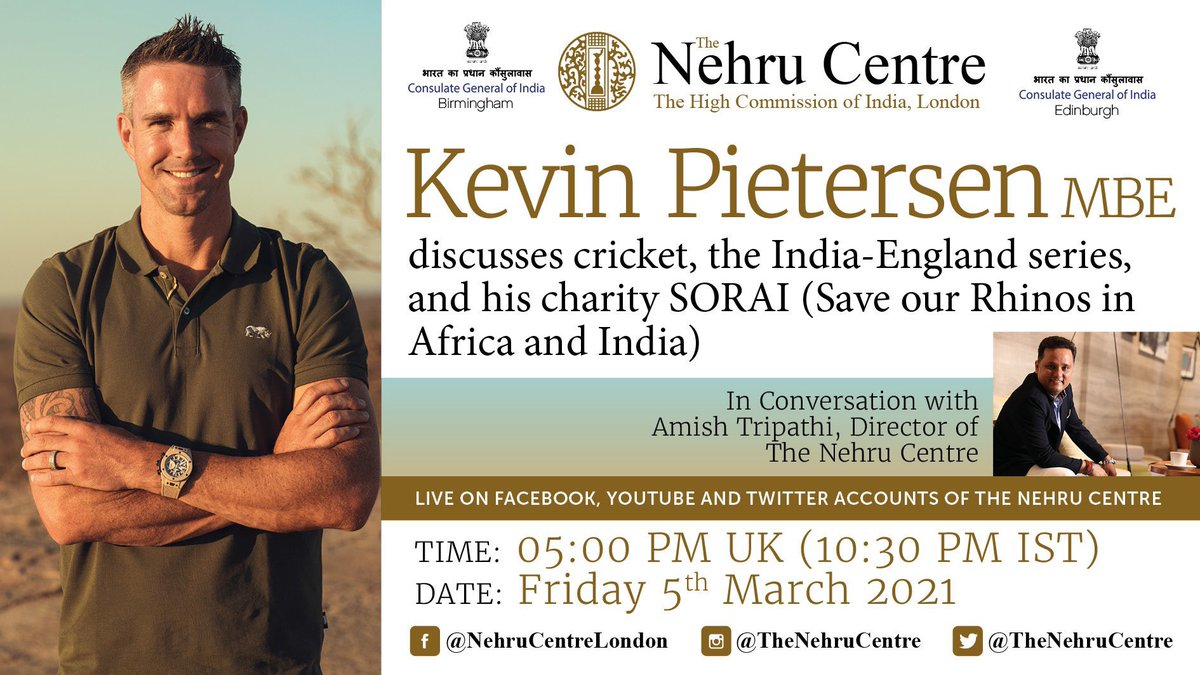 One of the pleasures of @TheNehruCentre job... I'm going to interview the legendary @KP24. We'll talk about cricket, the #INDvENG series & Kevin's charity @oursorai Date: Fri 5th March (tomorrow) Time: 5:00 pm GMT (10:30 pm India) Location: check the tweet below. #INDvsENG