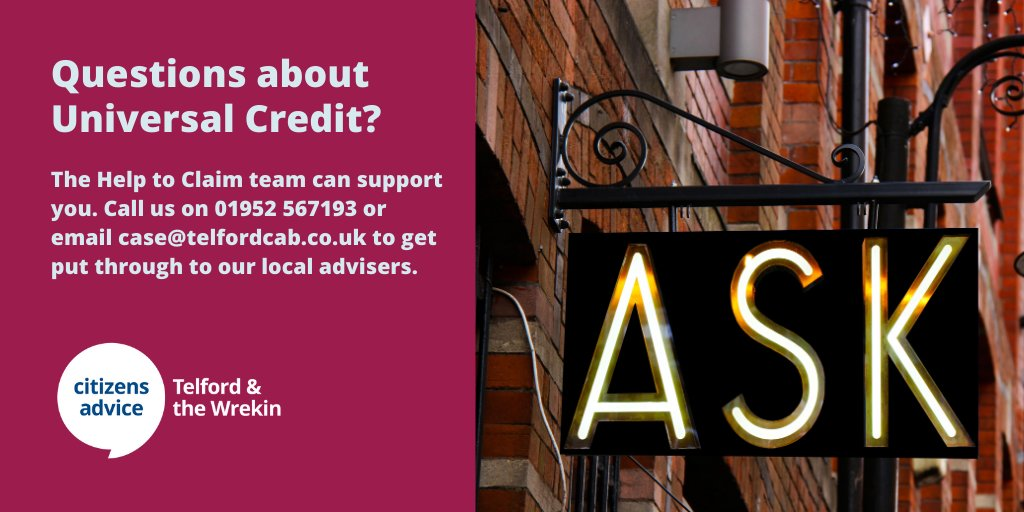 Worried about your income? Not sure if you are entitled to any benefits to help?      Our Help to Claim team can do a full benefits check with you to see if you are entitled to Universal Credit or other benefits.    #HereForYou #COVID19 #Telford #NationalLockdown
