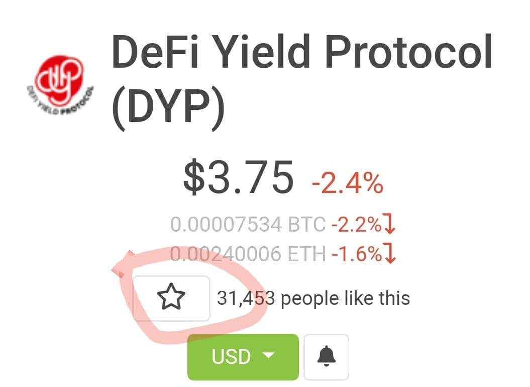 $50 in 24 hours to someone that retweets this tweet, follows us, @dypfinance and completes the steps below: 👇🏻  1. Go to CoinGecko 2. Search for DYP  3. Click the star button ⭐️ 4. Post proof 👇🏻  That's it, good luck!